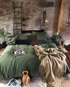 his cosy bedroom is looking lush with green. Loveeee Image by j. his cosy bedroom is looking lush with green. Loveeee Image by jellinadetma Decoration Bedroom, Bohemian Bedroom Decor, Wall Decor, Bohemian Bedding, Cosy Bedroom, Bedroom Green, Bedroom Wall, Bedroom Quotes, Ikea Bedroom