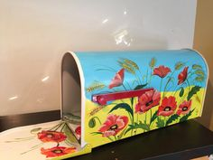 Hand painted custom rural Mailbox Field of Poppies by OlenkasArt