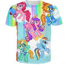 Digital Pony T-Shirt ($30) ❤ liked on Polyvore featuring tops, t-shirts, rainbow t shirt and digital t shirt