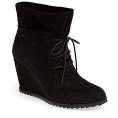 Gentle Souls by Kenneth Cole 'Gabel' Wedge Bootie (Women) ($110) ❤ liked on Polyvore featuring shoes, boots, ankle booties and black