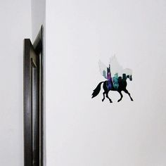 Wall decor, home decor, Pegasus, wood decor, hand drawn