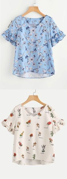 Layered Ruffle Sleeve Stepped Hem Botanical Top