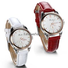 Ladies Watches Casual Business Numbers Dial Leather Band Quartz Wristwatch Red