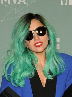 """Pin for Later: The Future's Bright: Celebrities With Coloured Streaks, Dip Dyes, and Pastel Hair Lady Gaga What colour hasn't Gaga tried? The yellow """"Telephone""""-era locks were great, but this aqua shade tops our list."""
