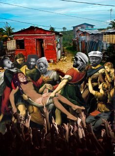"""The Burial of Bob Marley (with to the left :Hailé Sélassié,Alvin """"Seeco"""" Patterson, Rita Marley, Peter Tosh et  Bunny Wailer) collage by FrenchCollage                https://www.facebook.com/collagedjamel/#"""