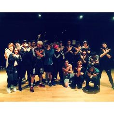 Choreographer Parris Goebel with BigBang and dancers