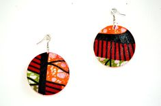 Red  African Fabric Cover Earrings African Jewelry by ZabbaDesigns