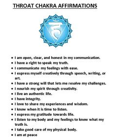 Throat Chakra Affirmations                                                                                                                                                     More