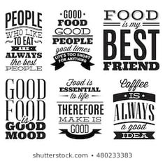 Set vintage typographic food quotes to the menu or t-shift - illustration . Food Quotes, Funny Quotes, Splendid Spoon, Strawberry Frozen Yogurt, Korean Diet, Food Porn, Vintage Menu, Shopping Quotes, Dieta Paleo