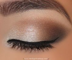 Natural looking makeup. I would wear this with a semi-bold lipstick to create a nice contrast