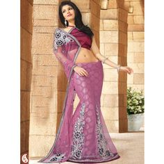 Light Onion Pink Net Lehenga Style Saree With Blouse. $100.99