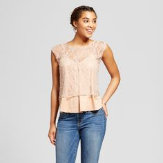 Women's Lace To Suede 2Fer Top - Soul Cake (Juniors') Beige XL