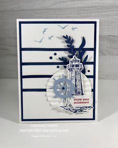 Hand Made Greeting Cards, Making Greeting Cards, Masculine Birthday Cards, Masculine Cards, Card Making Inspiration, Making Ideas, Nautical Cards, Retirement Cards, Birthday Cards For Women