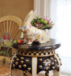Our Rabbit Planter has a new spring arrangement!