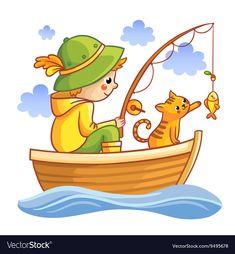 Fishing vector image on VectorStock Fish Drawings, Art Drawings For Kids, Drawing For Kids, Cartoon Drawings, Art For Kids, Cartoon Sea Animals, Cartoon Fish, Drawn Fish, Boat Drawing