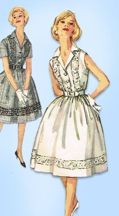 1960s Vintage Simplicity Sewing Pattern 3923 Misses Shirtwaist Dress Size 33 B