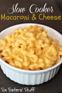 Six Sisters Slow Cooker Creamy Macaroni and Cheese is the perfect side at a BBQ or any dinner!
