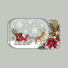 Christmas Sleigh Snow Globe cross stitch pattern by Shannon Wasilieff. An upside down mason jar houses this cute little deer and Christmas tree. Pattern stitch count is: 94w by 56h and uses DMC, Kreinik and Mill Hill beads. Check out the companion piece, Christmas Truck Snowglobe!