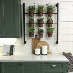 Pin for Later: 10 Kitchen Organization Tips to Steal From Chip and Joanna Gaines And if you have the kitchen space, create a whole wall of them — they double as decor and ingredients. Maybe not in the kitchen Herb Garden In Kitchen, Kitchen Herbs, New Kitchen, Kitchen Decor, Herbs Garden, Green Kitchen, Kitchen Interior, Apartment Kitchen, Apartment Ideas
