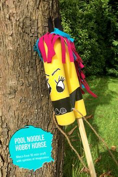 How To Make a DIY Pool Noodle Hobby Horse - A quick 15 minute mess-free recycled craft and invitation to play for children // @mollymooblog