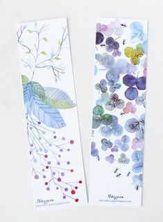 leafy watercolor bookmarks
