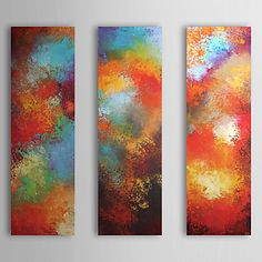 Hand Painted Oil Painting Abstract Passion with Stretched Frame Set of 3 1309-AB0961 – USD $ 119.99