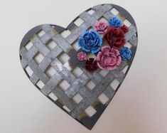 Metal wall decor   Etsy Flower Wall Decor, Metal Wall Decor, Pallet Tray, Tin Flowers, Wall Crosses, Galvanized Metal, Metal Walls, Upcycle, Triangle