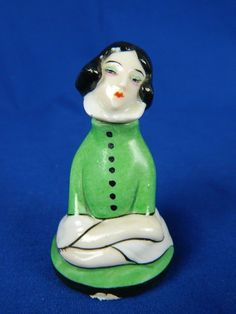 RARE ANTIQUE GOEBEL LADY PIERROT GERMAN PERFUME BOTTLE ART DECO PORCELAIN NICE! #ArtDeco #GOEBEL