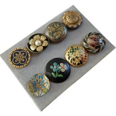 A Card of 8 Antique Victorian Enamel, Celluloid, Painted Metal Buttons 3/4' to 7/8'