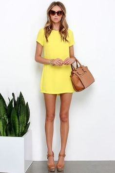 Matter of Fact Yellow Shift Dress at Lulus.com!