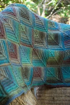 Love the color changes of Plymouth Boku in this Mitered Square Afghan.
