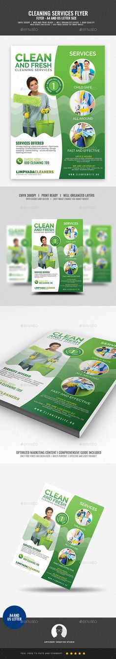 House Cleaning Services Promotional Flyer Template PSD