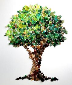 Button Tree -- Spectacular Rainbow Button Art by Karen Hurley - My Modern Metropolis Crafts To Do, Crafts For Kids, Arts And Crafts, Button Picture, Diy Buttons, Button Crafts, Button Art Projects, Art Plastique, Crafty