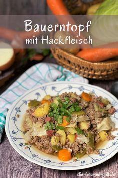 Dieser Bauerntopf mit Hackfleisch ist im Winter die Vitaminbombe schlechthin, im Sommer aber auch nicht zu schwer um nicht mal auf den Tisch zu kommen. Eignet sich fürs Familienessen genauso wie für die Party. Und mit 60 Minuten Kochzeit ein schnelles Eintopf Rezept... #rezept #onepot #eintopf #rezepte #lecker #dutchoven Pot Roast, Grilling, Beef, Ethnic Recipes, Dinner, Party, German Cuisine, Healthy Recipes, Carne Asada
