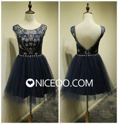Fashion Navy blue A line princess Scoop Neck short mini Tulle prom dresses with Beaded   #promdress #formaldress #eveningdress #prom #dress http://niceoo.com/products/16461270-fashion-navy-blue-a-line-princess-scoop-neck-short-mini-tulle-prom-dresses-w