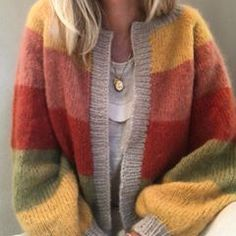 Silk mohair cardigan in fall stripe colors Knitwear, Sorbet, Pullover, Silk, Photo And Video, Knitting, Stylish, My Style, Blazer
