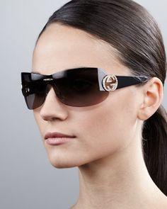 Interlocking GG Shield Sunglasses by Gucci at Neiman Marcus.