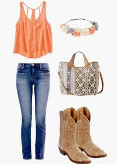 Cute cowboy boots outfit with floral crown (outfit details at link)