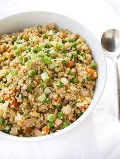 Lightened fried cauliflower rice with chicken