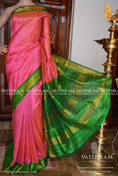 Pink cotton silk saree green border with mango zari motif on border green plain blouse with border Code: N1116SC290805 Cost: 4300 inr DISCOUNT SALE:3200 INR Whatsapp: +91 7019277192