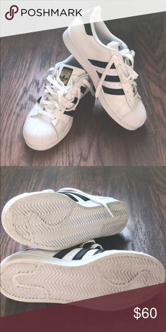 Adidas Superstar Only worn once! Superstar with clam toe. adidas Shoes Athletic Shoes