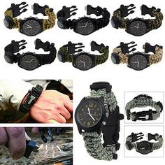 New survival bracelet with #watch #compass flint fire #starter scraper whistle ge,  View more on the LINK: http://www.zeppy.io/product/gb/2/231747190527/