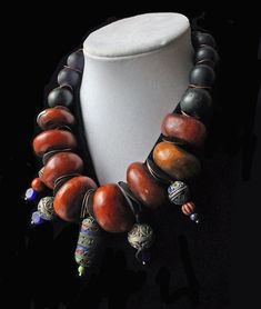 Round Inlaid Ebony Wood Beads 18mm Mauritania African Black Large Hole Handmade