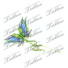 Butterfly with kids names custom tattoo | Flowing Names #22168 | CreateMyTattoo.com