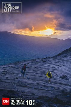 Vanuatu Sunset: The crew of CNN's new series The Wonder List with Bill Weir walks along Mount Yasur in Vanuatu. Visit this active volcano and other amazing places around the world Sundays at 10p ET on CNN, starting March 1, 2015. (Photo by Philip Bloom)