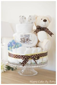 Beautiful Totally Timeless Teddy Cake  Packed full of baby products Gift & Centrepiece www.nappycakesbybetty.com
