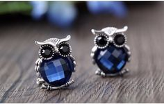 I'm auctioning 'Blue Sapphire Owl Earrings' on #tophatter