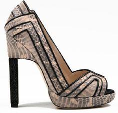 An elegant nod to era alligator shoes with a very modern flair-Chrissie Morris designer. Shoe Story, Snake Skin Shoes, Beautiful High Heels, Hot Shoes, Shoe Closet, Shoe Game, Manolo Blahnik, Me Too Shoes, Fashion Shoes