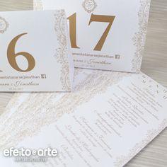 Números e Menu de mesa para Casamento. Orçamentos e pedidos pelo e-mail contato@efeitoearte.com.br
