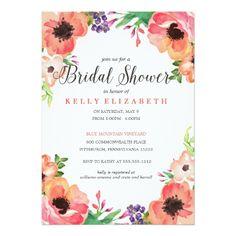 Floral Wedding Invitations MODERN WATERCOLOR FLORAL bridal shower invitation